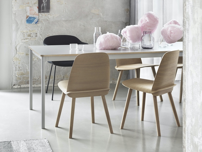 Muuto Base Table Under The Bell Nerd Chair