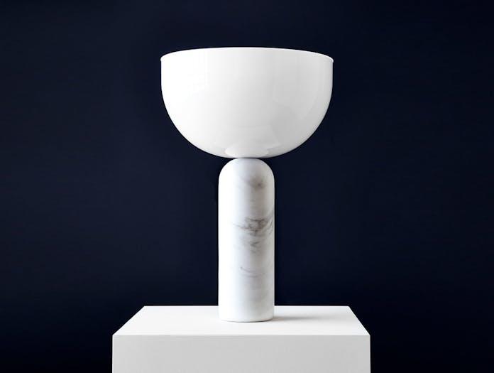 New Works Kizu Table Lamp White Marble Lars Tornoe