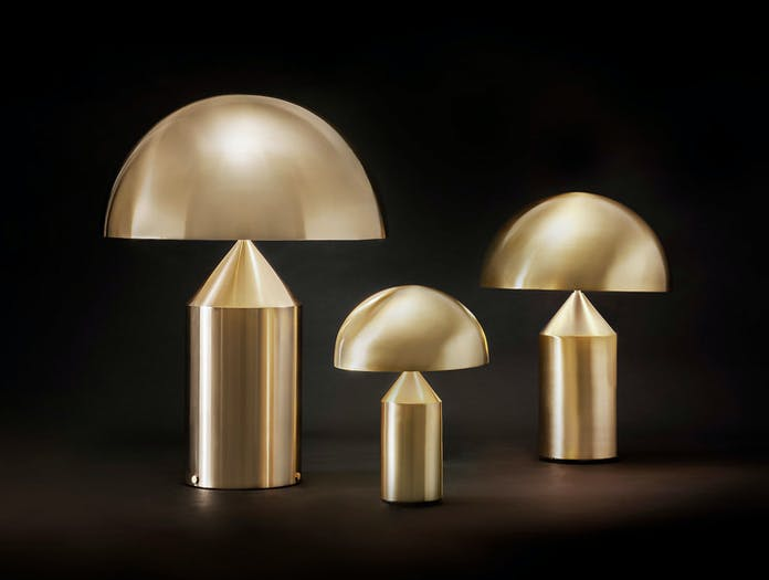Oluce Atollo Metal Table Lamps Gold Vico Magistretti