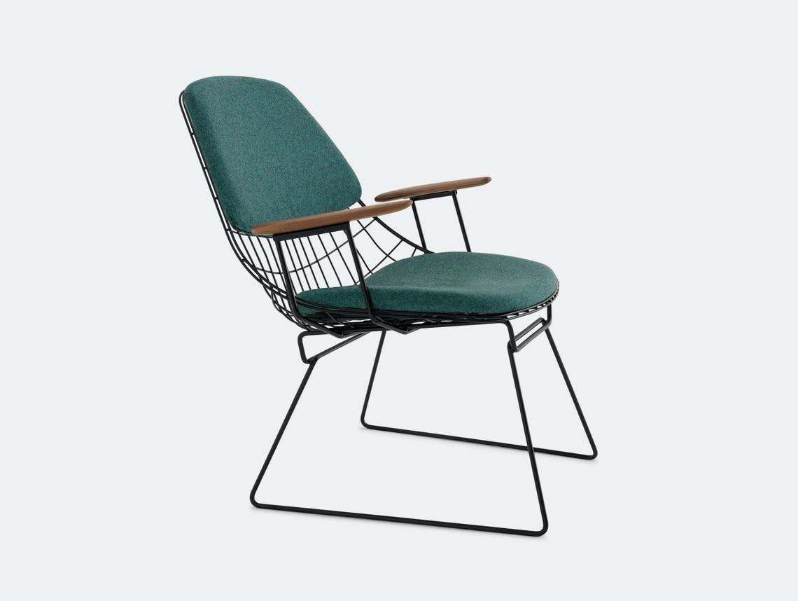 Pastoe Fm06 Wire Lounge Chair Petrol Blue Divina Cees Braakman