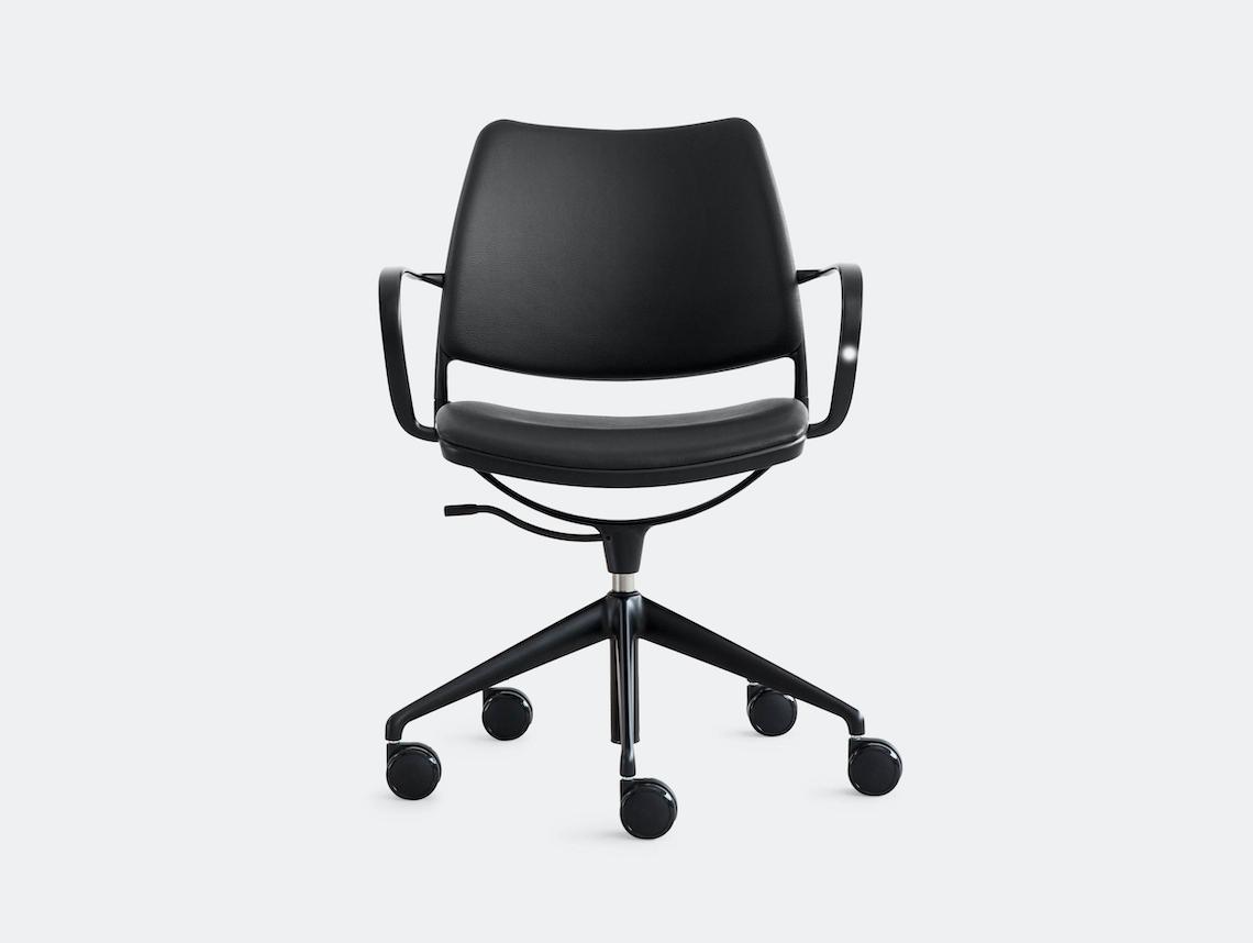 Stua Gas Swivel Chair Black Leather Jesus Gasca