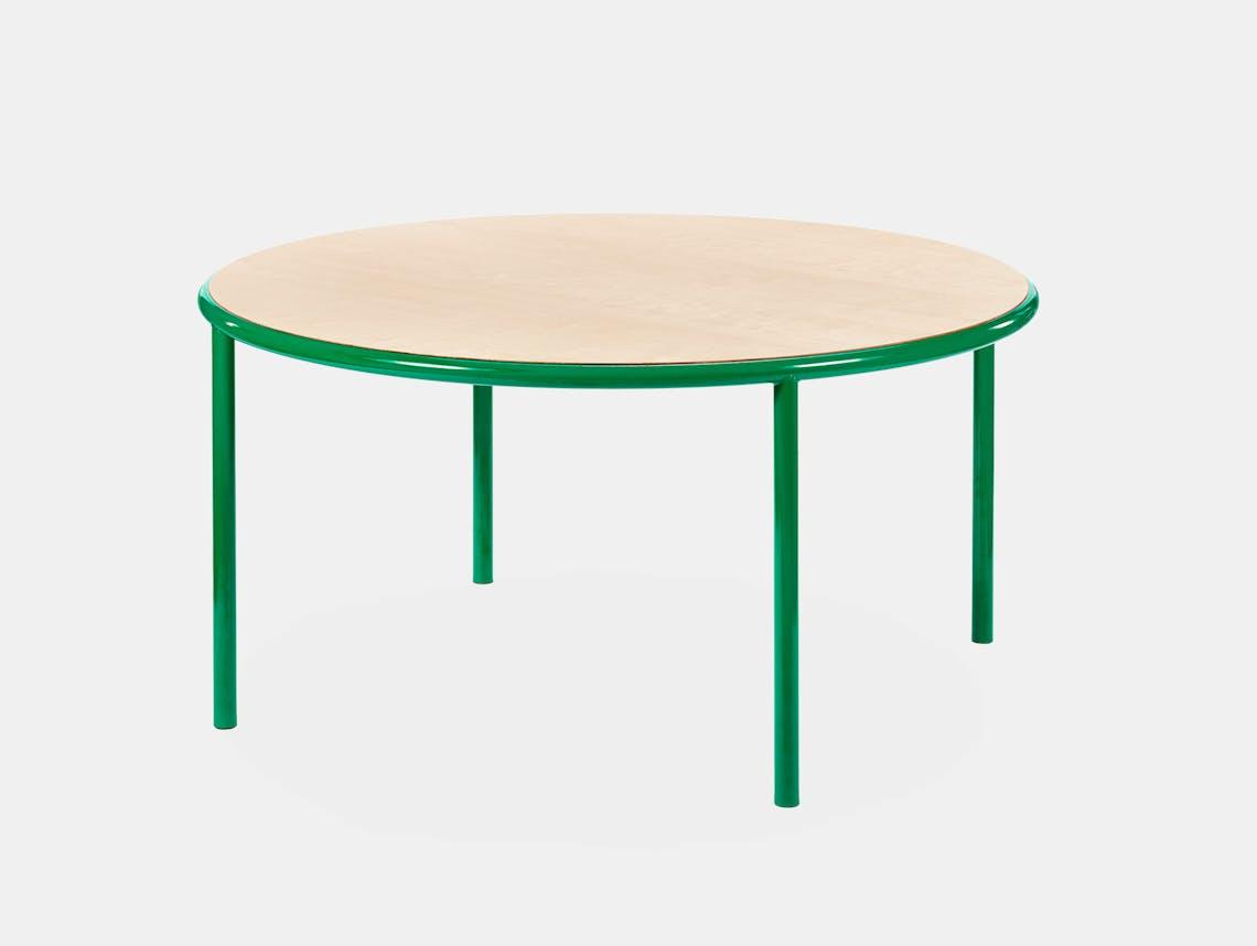 Muller van severen wooden table large round green birch