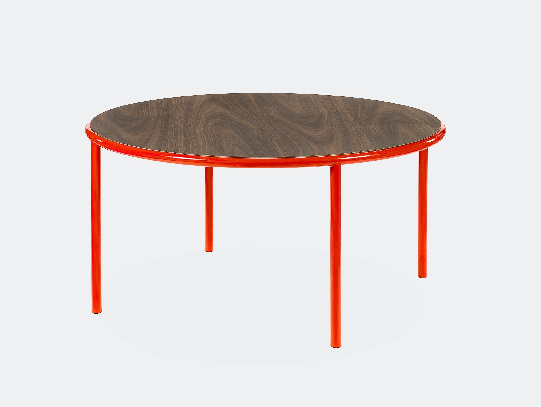 Muller van severen wooden table large round red walnut