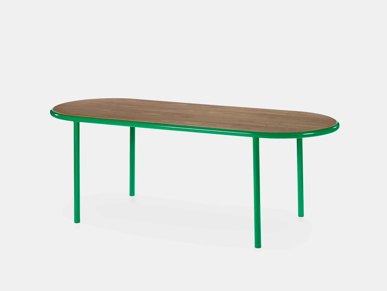 Muller van severen wooden table oval green walnut