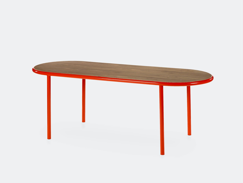 Muller van severen wooden table oval red walnut