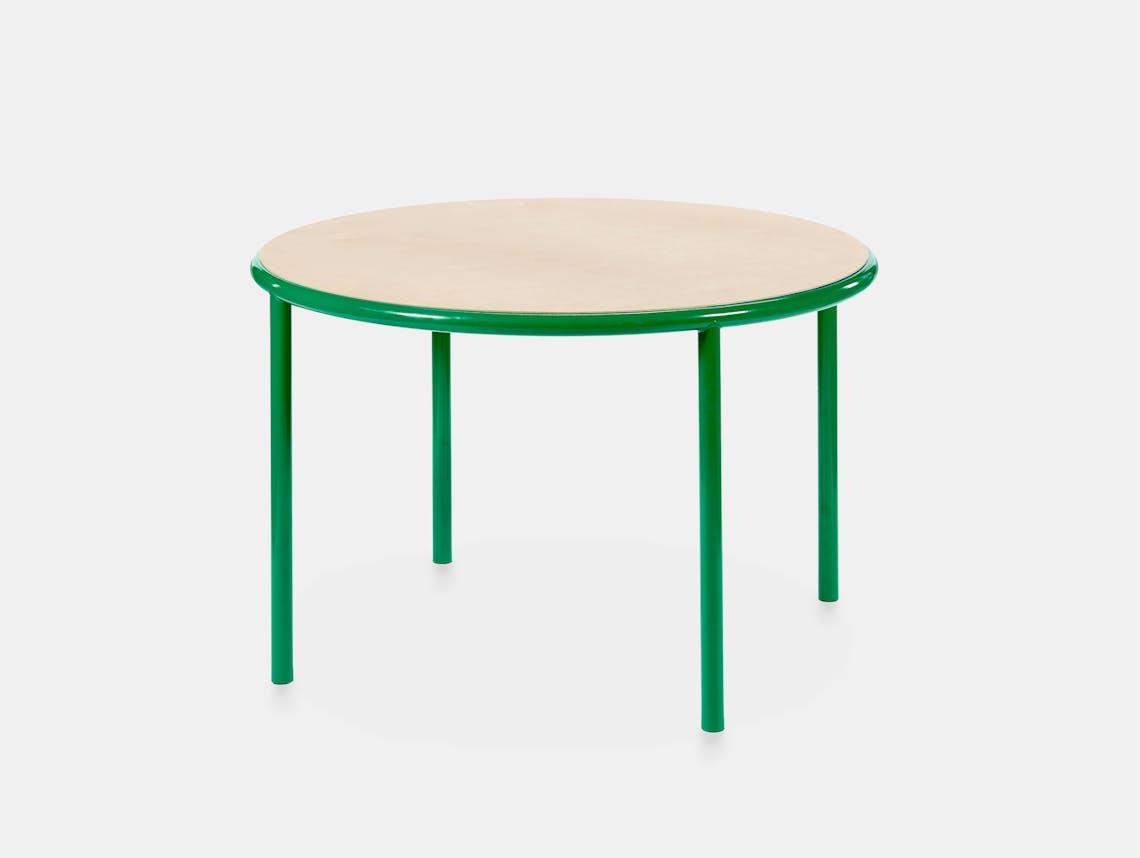 Muller van severen wooden table small round green birch