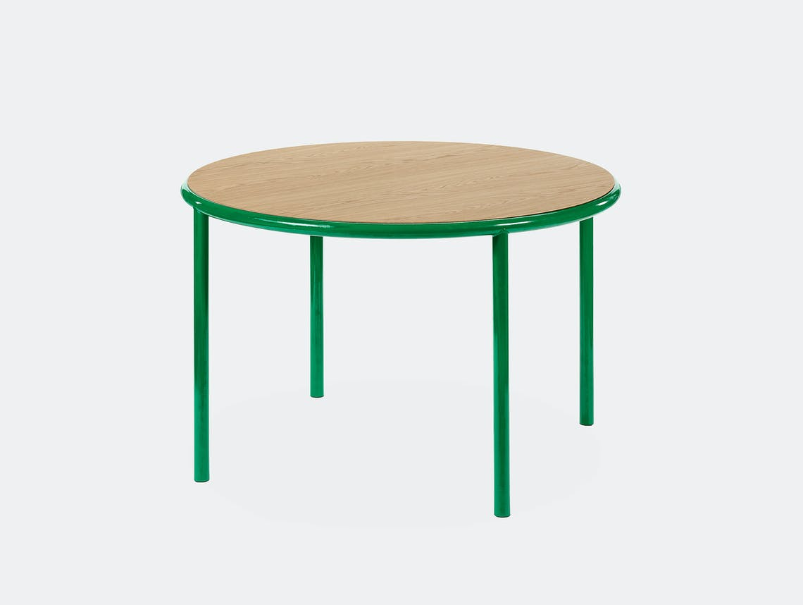 Muller van severen wooden table small round green oak