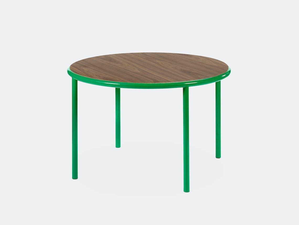 Muller van severen wooden table small round green walnut