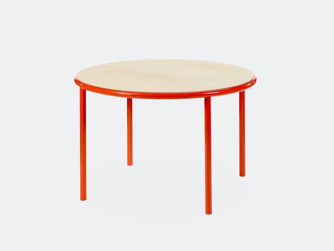 Muller van severen wooden table small round red birch