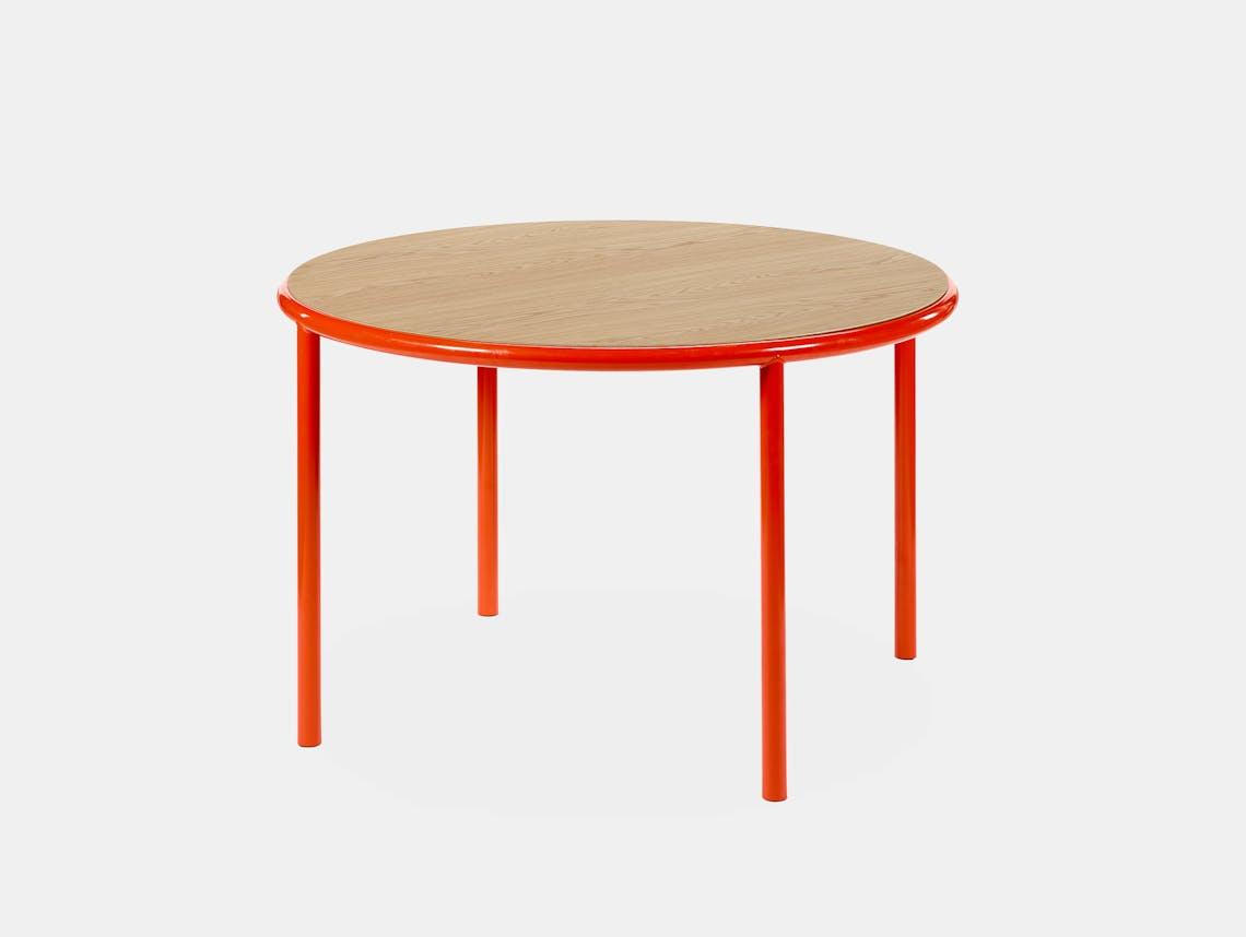 Muller van severen wooden table small round red oak