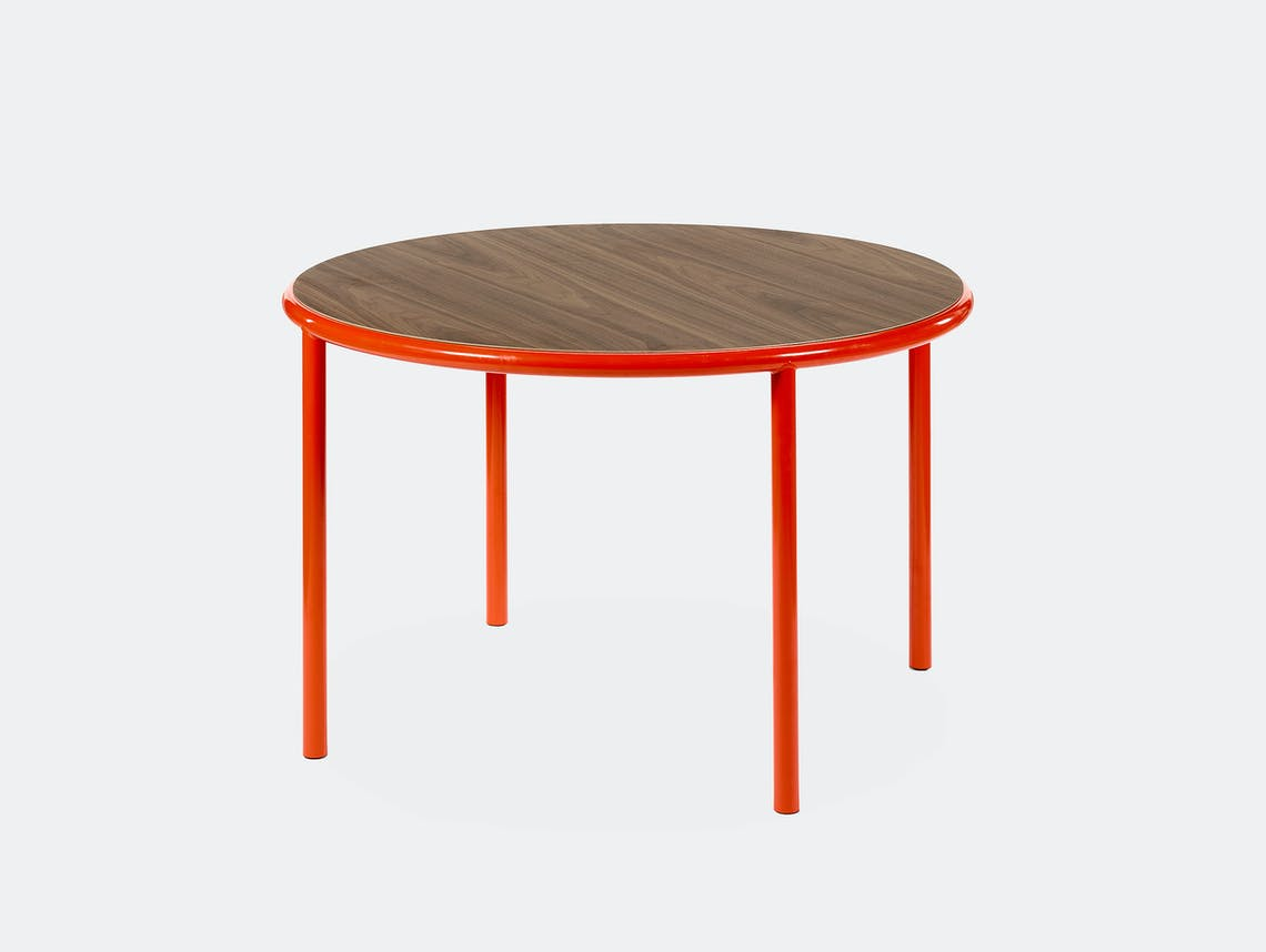 Muller van severen wooden table small round red walnut