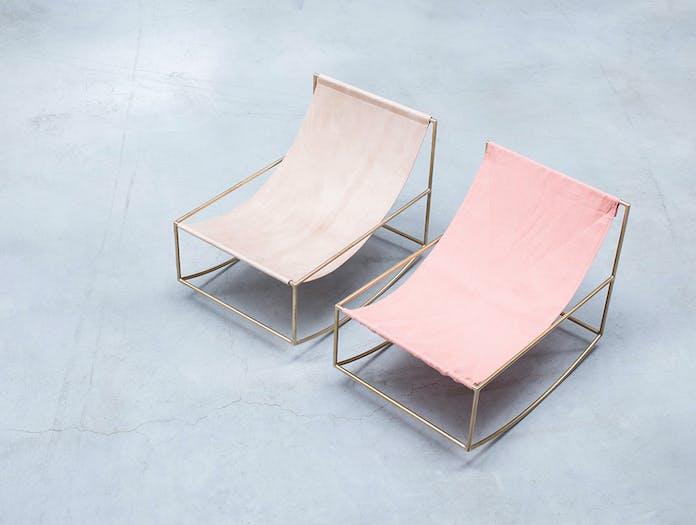 Muller van severen rocking chair brass