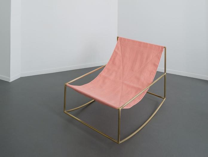 Valerie Objects Rocking Chair Brass Pink Muller Van Severen
