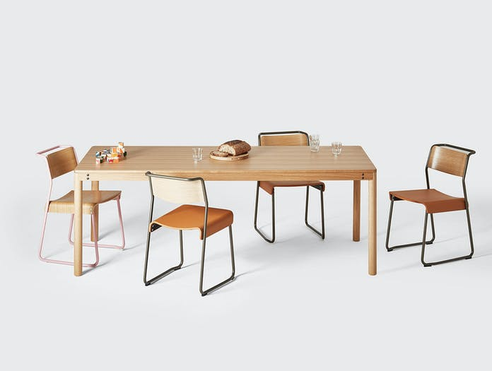 Very Good And Proper Dowel Table Oak Canteen Chairs