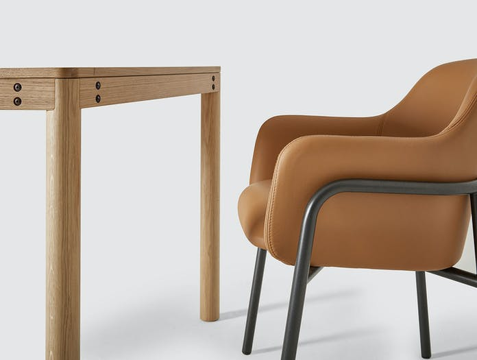 Very Good And Proper Dowel Table Oak Mt Club Chair