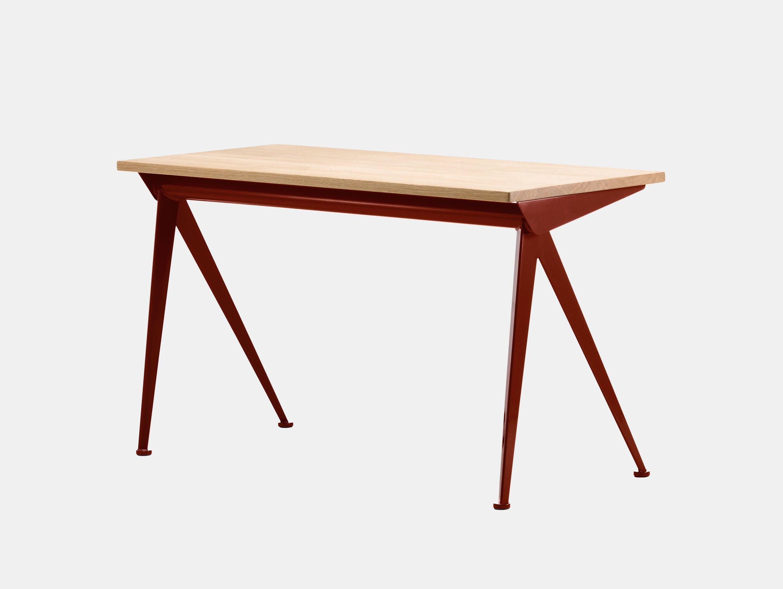 Vitra Compas Direction Desk Oak Japanese Red Jean Prouve
