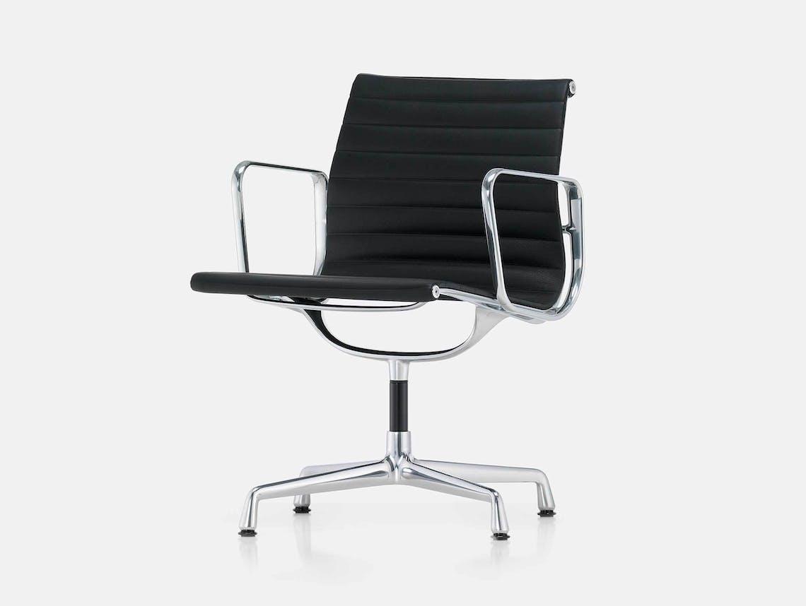 Vitra EA 108 Eames Aluminium Group Chair Blk Leather ALU
