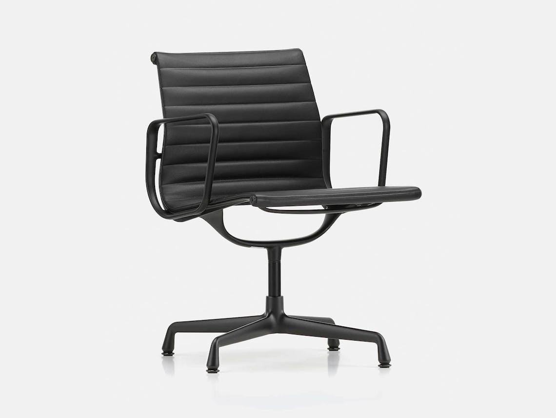 Vitra EA 108 Eames Aluminium Group Chair Blk Leather Blk Back