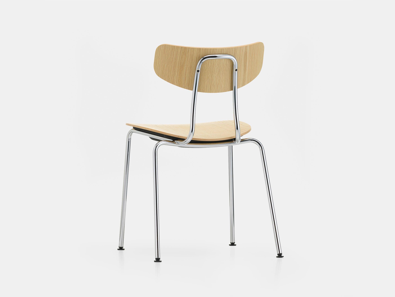 Vitra moca chair oak chrome back