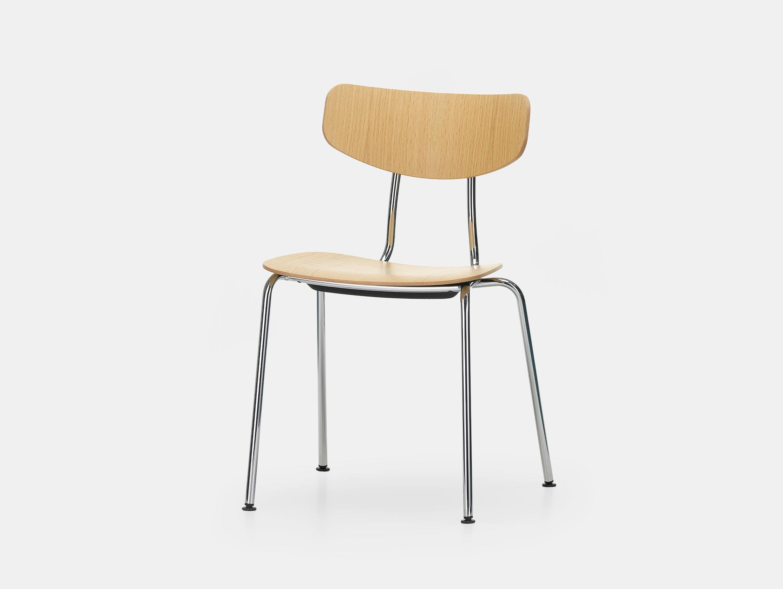 Vitra moca chair oak chrome front