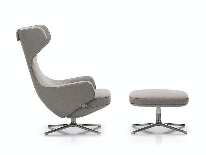 Vitra Grand Repos Lounge Chair Cosy Fossil Ottoman Antonio Citterio