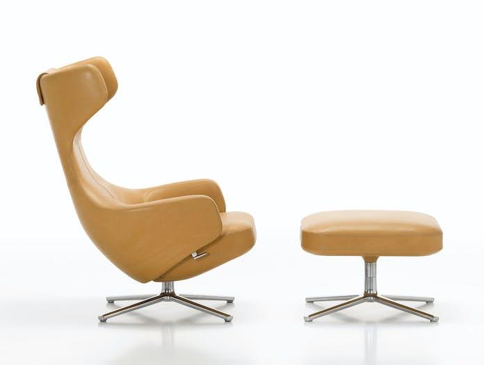 Vitra Grand Repos Lounge Chair Leather Ottoman Antonio Citterio