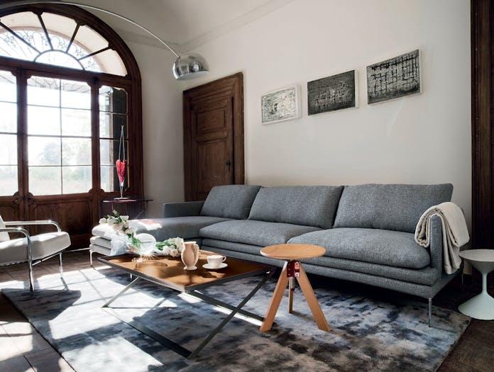 Zanotta William Three Seater Sofa With Chaise Grey Damian Williamson