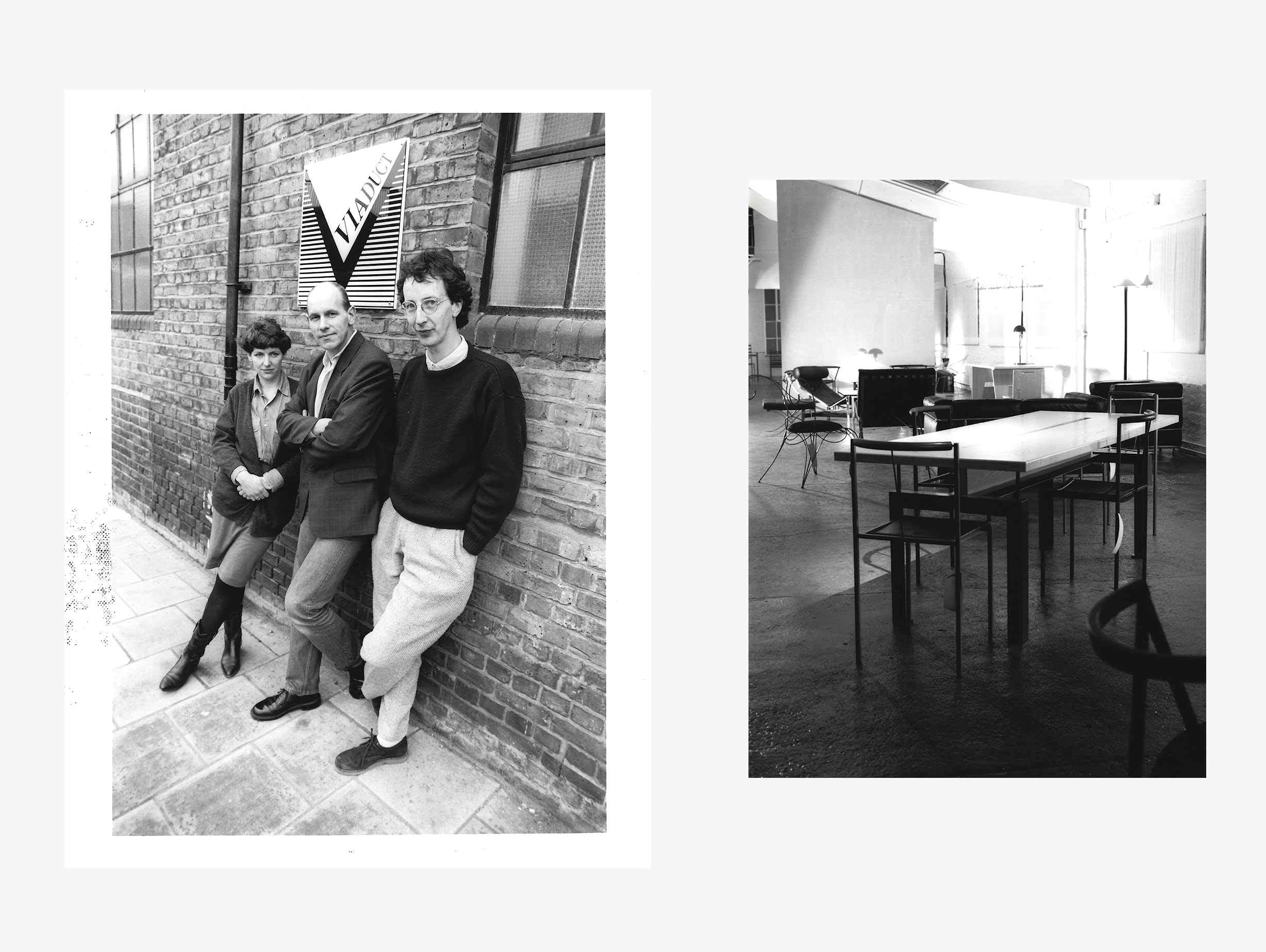Left: L-R Kate Hayward, John Werner and James Mair. Right: Zeus Table and Sedia chair with Andre Dubreuil Ram chair in the background image